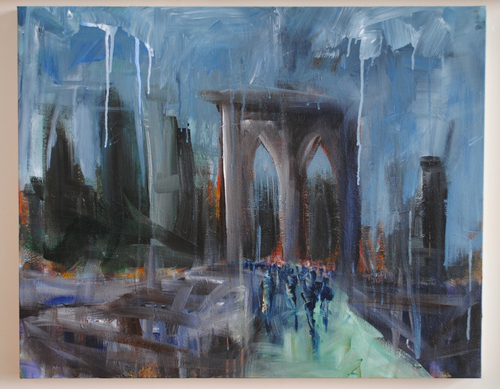 Picture, brooklyn bridge, art, abstract,, expressionist, new york city, nyc art, nyc