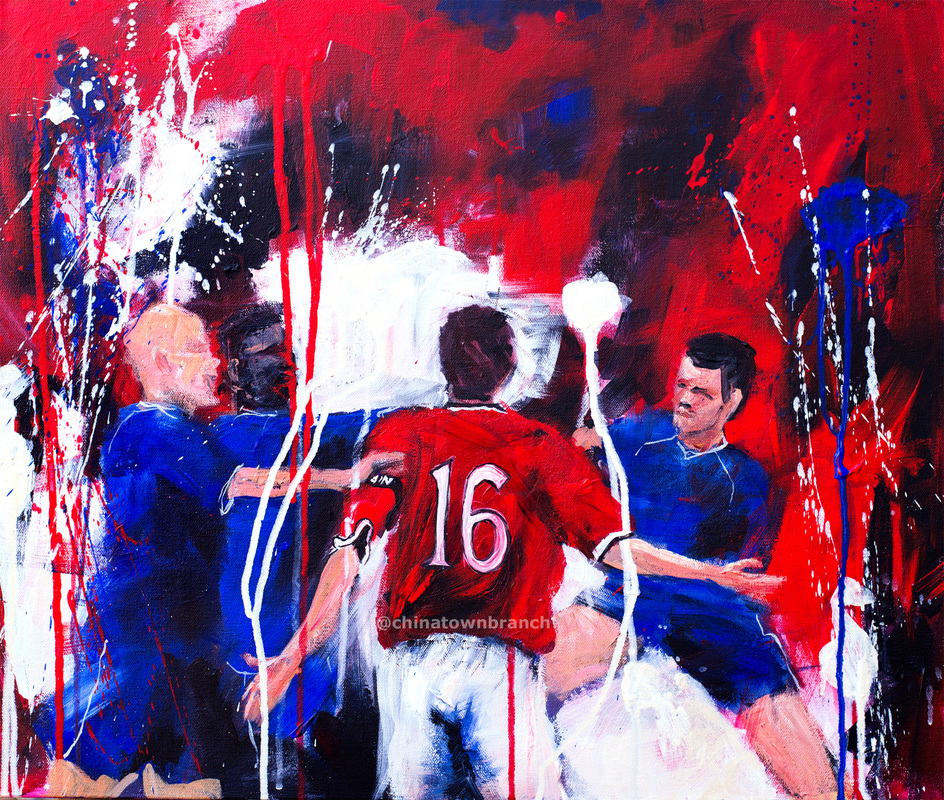 Expressionist painting of MUFC captain Roy Keane