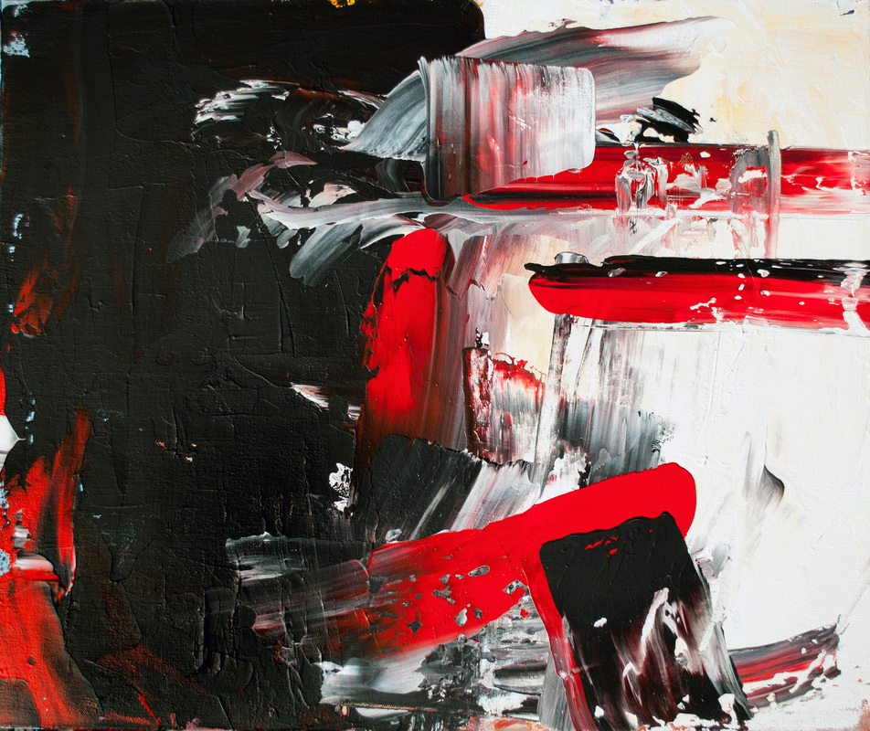 Red black and white paint for White canvas to paint