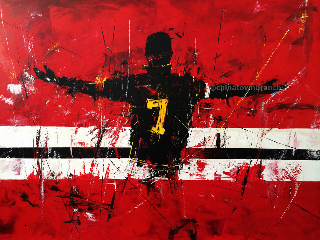 Abstract expressionist painting of Eric Cantona Manchester United