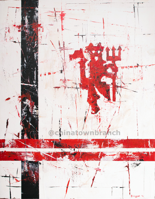 Painting of the Red Devil crest, MUFC